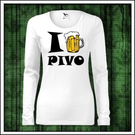 Vtipné dámske dlhorukávové tričko Ja milujem pivo