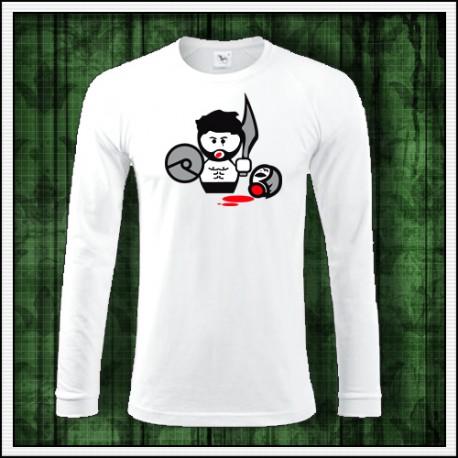 Vtipné pánske biele tričko s dlhým rukávom Gladiator
