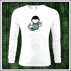 Vtipné pánske 160g. dlhorukávové tričká Spock