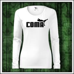 Vianočný darček, vtipné dámske biele tričko Coma s dlhým rukávom
