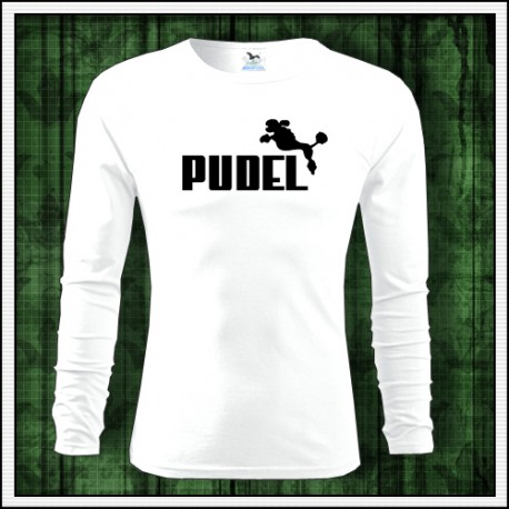 Vtipné pánske tričko s dlhým rukávom Pudel
