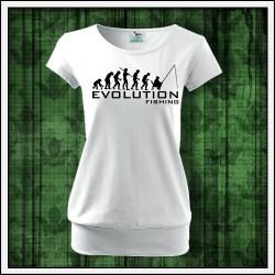 Vtipné dámske tričko s patentom Evolution Fishing