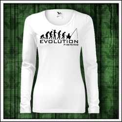 Vtipné dámske dlhorukávové tričká Evolution Fishing