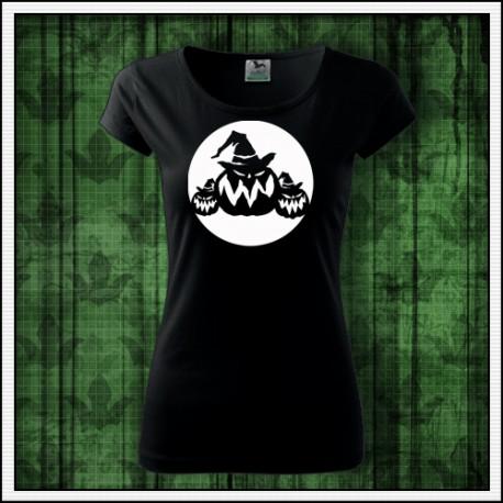 Dámske fosforove tričko halloweenske tekvice