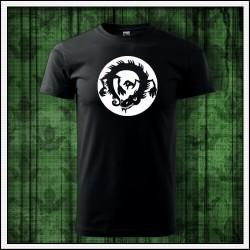 Unisex svietiace tričko Čínsky drak