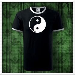 Unisex dvojfarebné svietiace tričko Jin a Jang