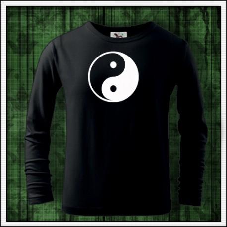 Detské dlhorukávové svietiace tricko yin a yang