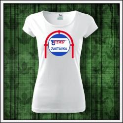 Dámske retro biele tričko ČSAD zastávka