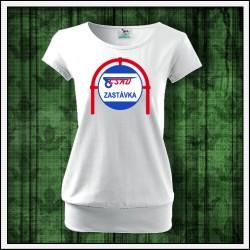 Dámske tričko s patentom retro potlač ČSAD zastávka