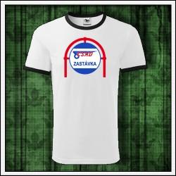 Unisex dvojfarebné retro tričko ČSAD zastávka