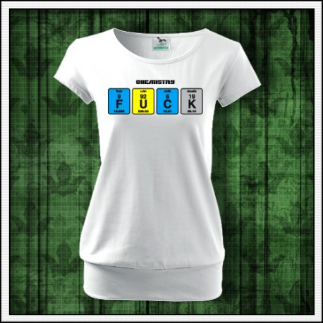 Vtipné dámske tričko biele s patentom Fuck