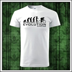 Vtipne unisex biele tricko Evolucia cyklistiky