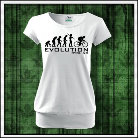 Vtipné dámske tričko pre cyklistku Evolucia bicyklovania