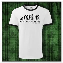 Vtipné unisex dvojfarebné tričká Evolution Cycling