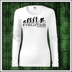 Vtipné dámske dlhorukávové tričko evolucia bicyklovania