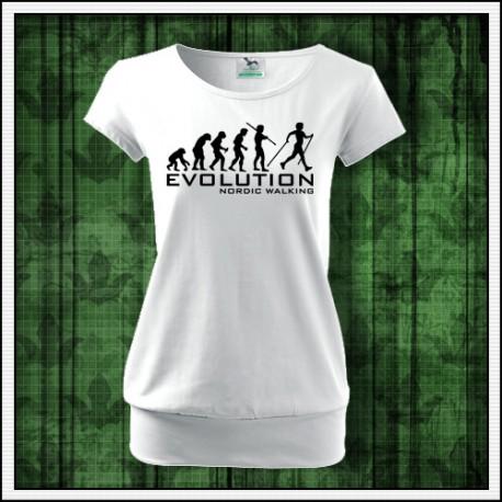 Vtipné dámske tričko s patentom Evolution Nordic Walking