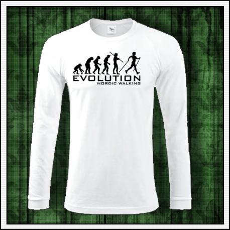 Vtipné pánske dlhorukávové tričko evolucia severska chodza