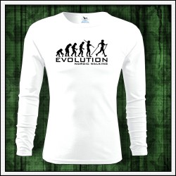 Vtipné pánske dlhorukávové tričko Evolution Nordic Walking