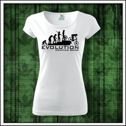 Vtipné dámske tričko Evolúcia horská cyklistika