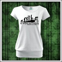 Vtipné dámske tričká s patentom Evolution Mountain Biking