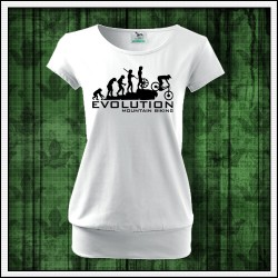 Vtipné dámske tričko s patentom Evolution Mountain Biking