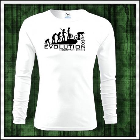Vtipné pánske dlhorukávové tričko Evolúcia horská cyklistika