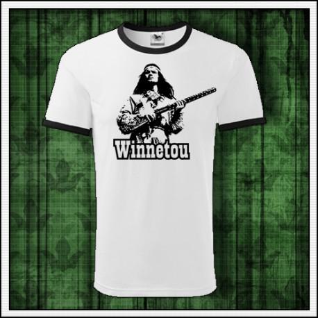 Unisex dvojfarebné retro tričko darček Winnetou s puškou