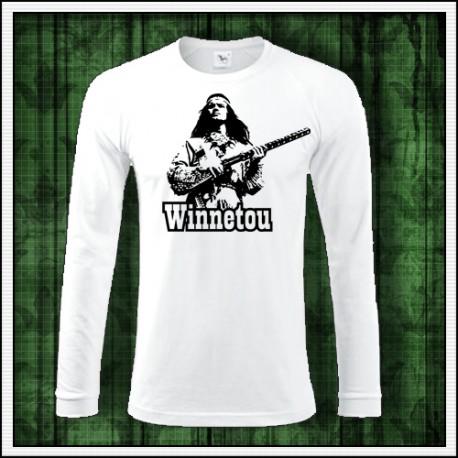 Pánske tričko s dlhým rukávom Winnetou s puškou