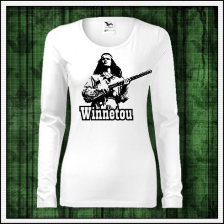 Dámske dlhorukávové retro tričko Winnetou s puškou