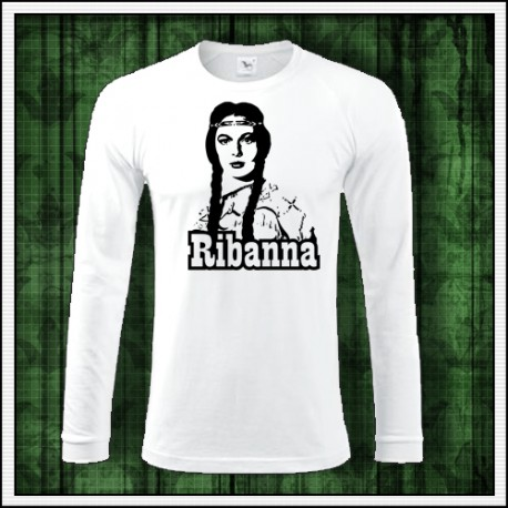 Pánske dlhorukávové biele tričko Ribanna