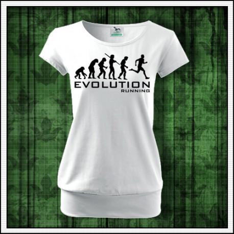 Vtipné dámske tričko s patentom Evolúcia behania