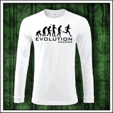 Vtipné pánske dlhorukávové biele tričko Evolúcia behu