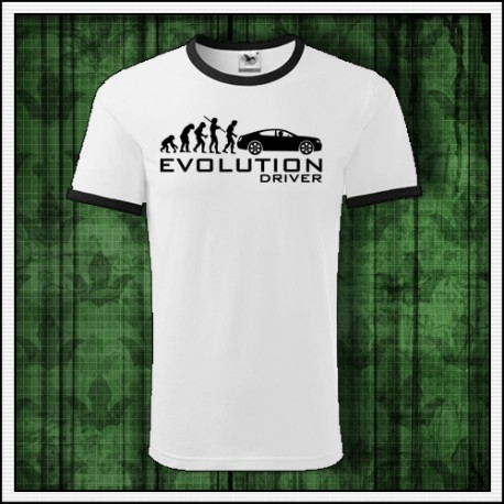 Vtipné unisex dvojfarebné tričko Evolution Driver