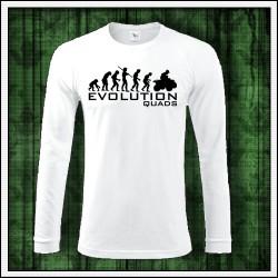 Vtipné pánske dlhorukávové biele tričko Evolution Quads