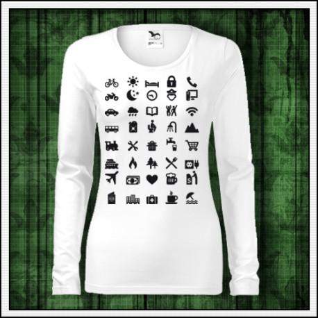 Vtipné dámske turistické dlhorukávové tričko Icon Speak