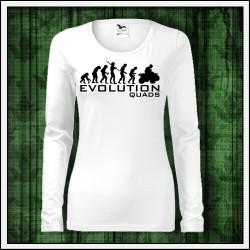 Vtipné dámske biele dlhorukávové tričko Evolution Quads