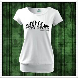 Vtipné dámske tričko s patentom Evolucia motokary