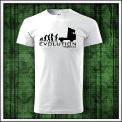 Vtipné unisex tričko Evolution Trucker, darček pre kamionistu
