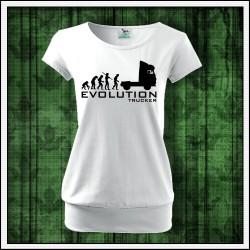 Vtipné dámske tričko s patentom Evolution Trucker
