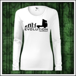 Vtipné dámske dlhorukávové tričko Evolution Trucker