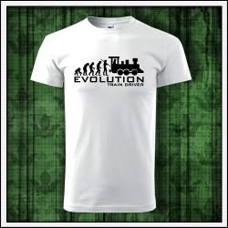 Vtipné unisex tričko Evolution Train Driver darček pre rušňovodiča