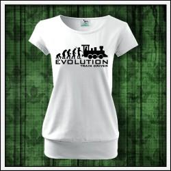 Vtipné dámske tričko s patentom Evolution Train Driver
