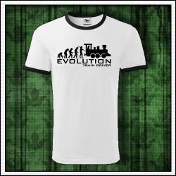 Vtipné unisex dvojfarebné tričko Evolution Train Driver