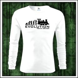Vtipné pánske dlhorukávové biele tričko Evolúcia rušňovodiča