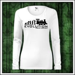 Vtipné dámske dlhorukávové tričko Evolution Train Driver