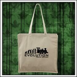 Vtipná prírodná taška Evolution Train Driver