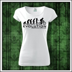 Vtipné dámske tričko Evolution Mountain Cycling