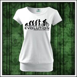 Vtipné dámske tričko s patentom Evolution Mountain Cycling