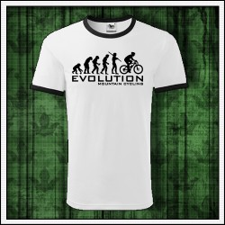 Vtipne unisex dvojfarebne tricko Evolution Mountain Cycling