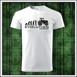 Vtipné unisex tričko Evolution Farmer darček pre traktoristu